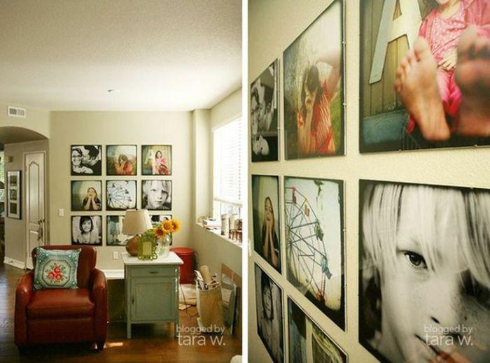 Большие фотографии, которые украшают одну из стен комнаты.