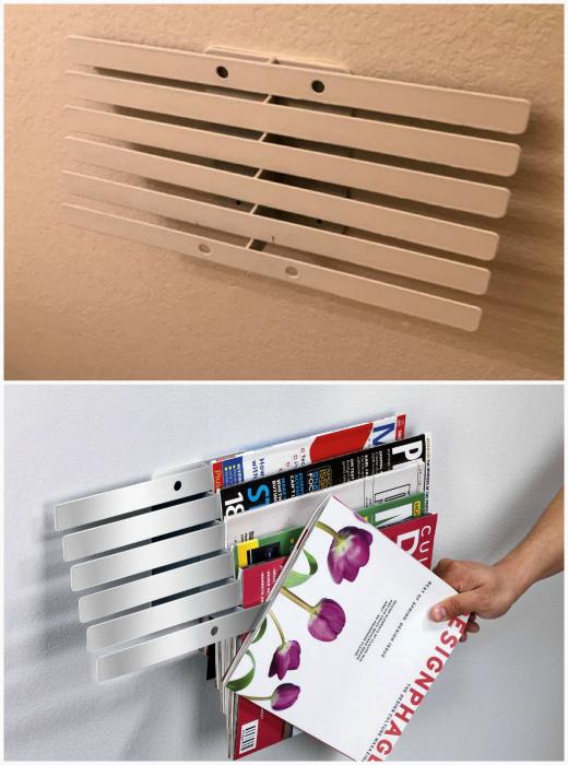 Компактная вешалка для журналов. | Фото: Екабу.