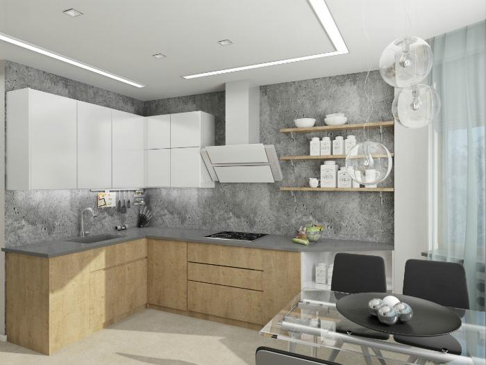 Светлая кухня с микробетоном на стенах.
