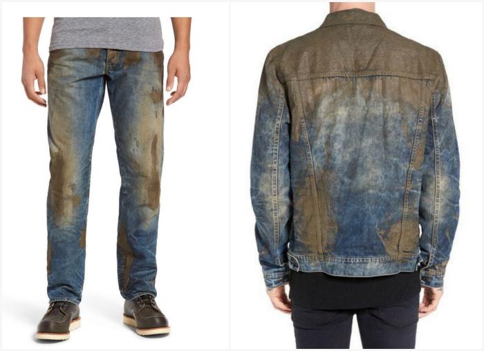 Джинсовая одежда, украшенная грязью.