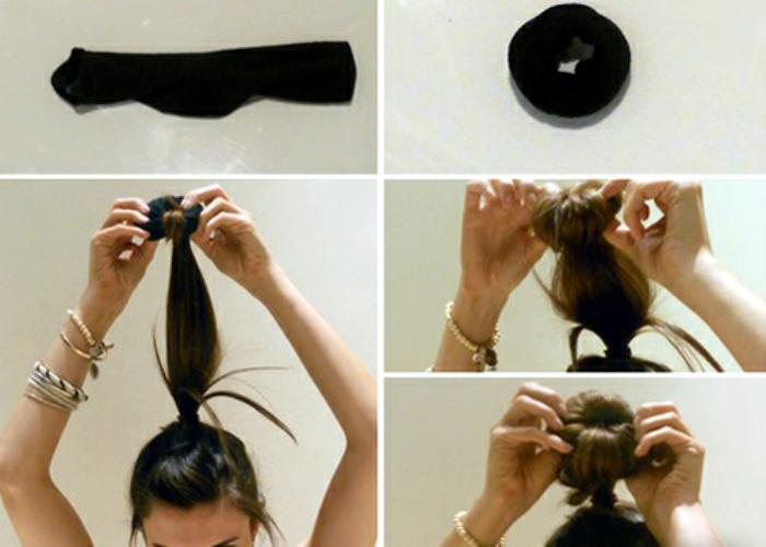Как сделать гульку из волос с резинкой видео
