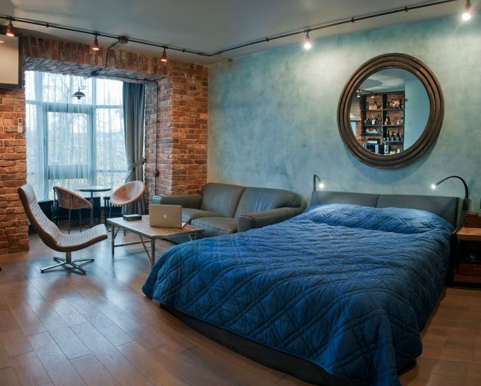 Мужской интерьер однокомнатной квартиры.