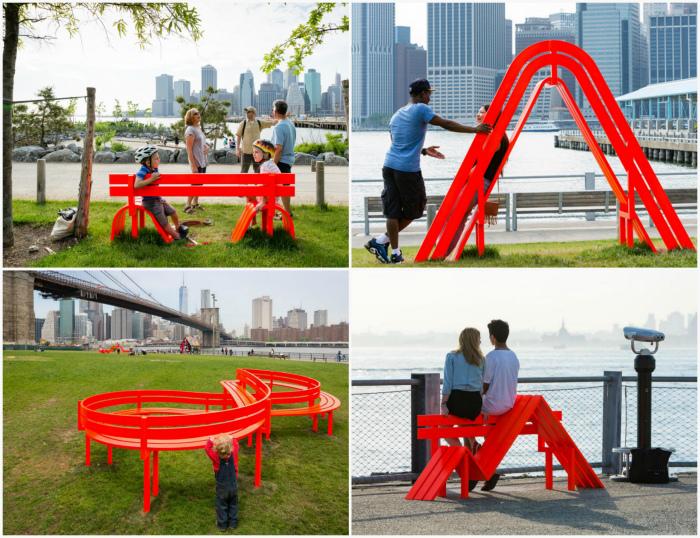 Замысловатые скамейки кислотного цвета.