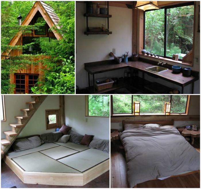 Лесной домик из дерева.