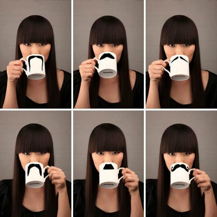Кружка с изображением усов для самых стильных и продвинутых.