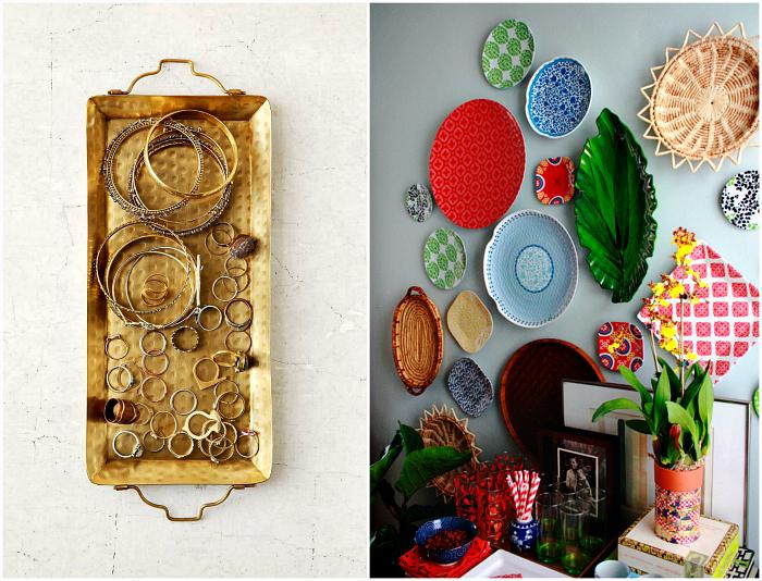 Стены, украшенные тарелками и подносами.