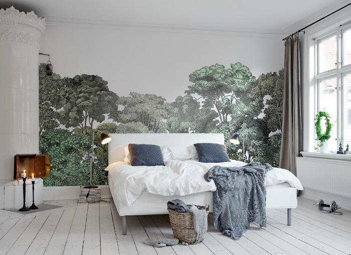 Светлая спальня в английском стиле.