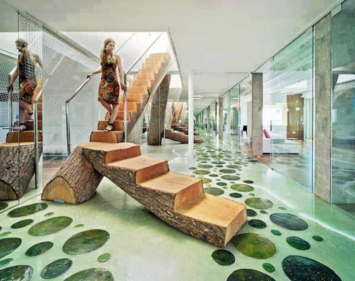 Лестница из ствола дерева.