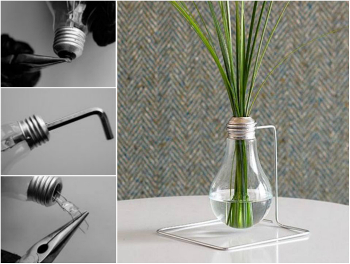 Небольшая вазочка для цветов из старой лампочки.