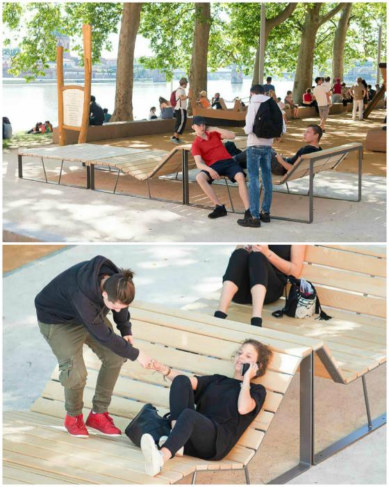Самые комфортные общественные скамейки. | Фото: Тролльно.