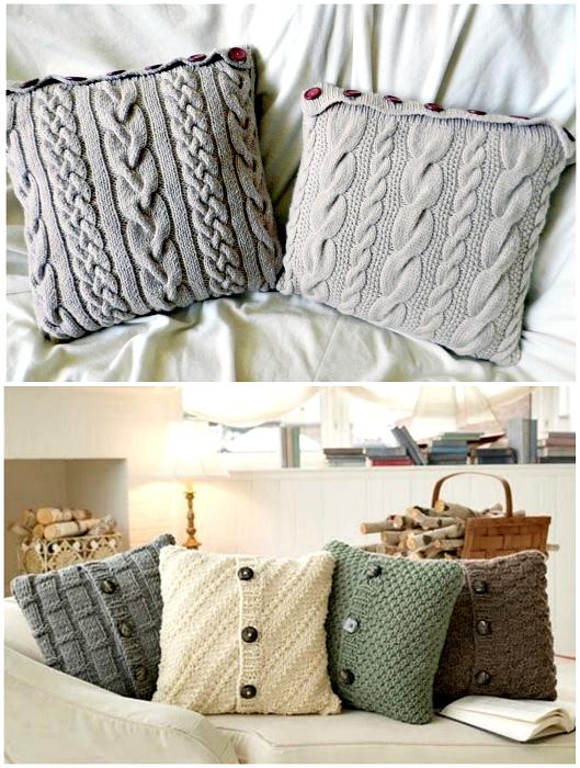 Стильні в'язані чохли на подушки.