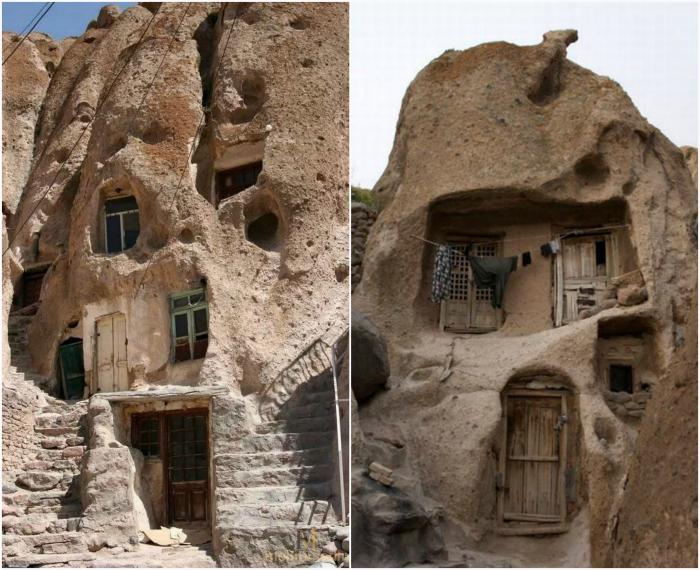 Дома в скалах. Кандован, Иран.