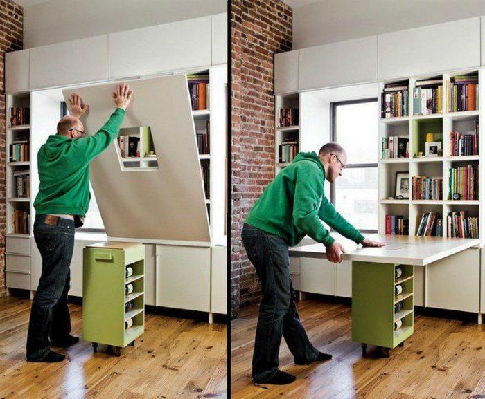 Шкаф, который превращается в стол. | Фото: Bem Mais Mulher.