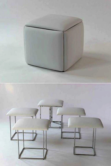 Табуретки, собранные в куб.