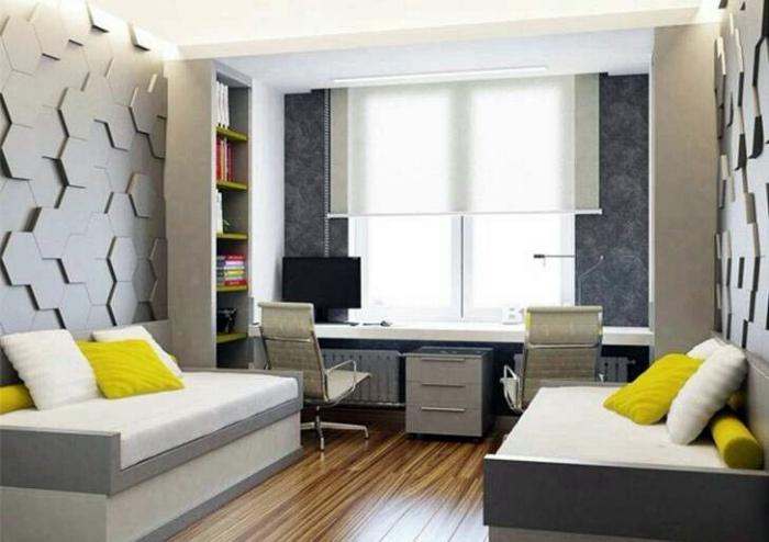 Спальня с объемными панелями на стенах.