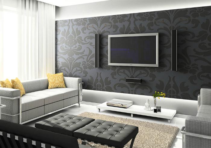 Элегантная гостиная с темной стеной.