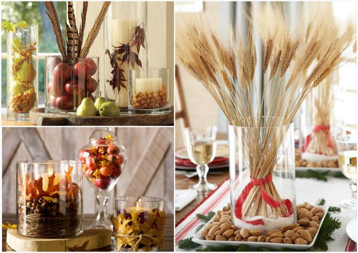 Фрукты, листья и цветы для декора.