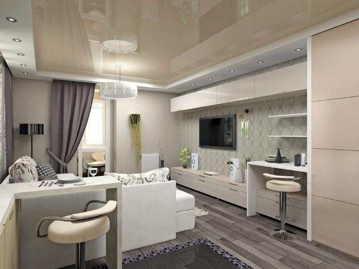 Светлая квартира-студия в классическом стиле.