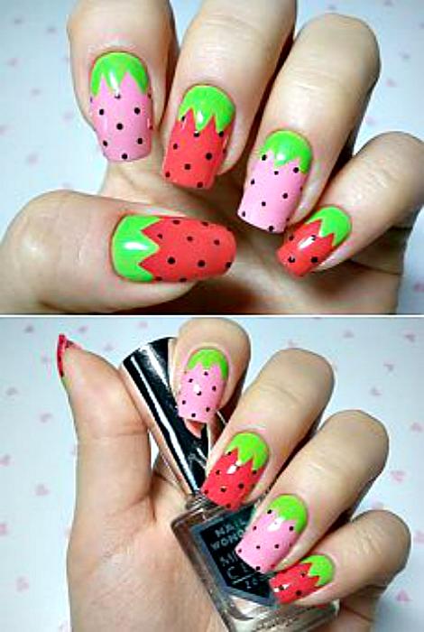 «Клубничный» дизайн ногтей.