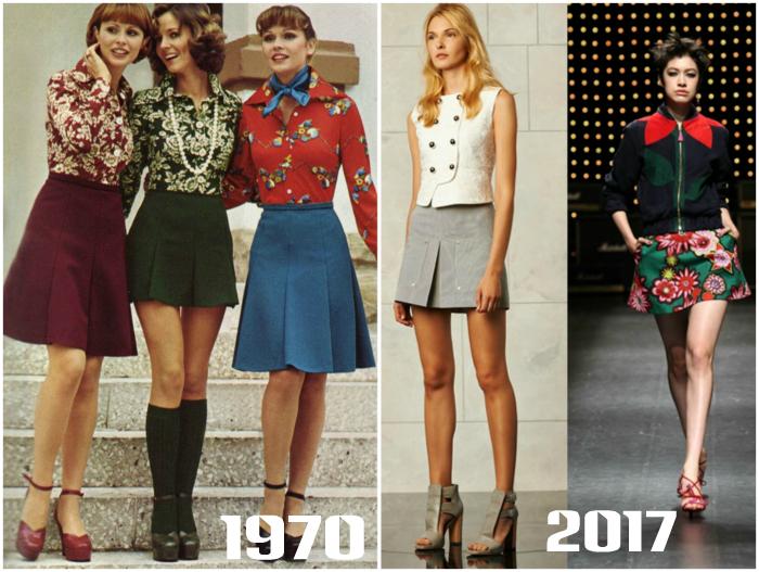 Мини юбки в стиле ретро.