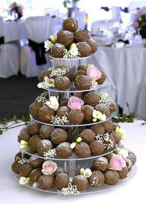 Десерт из шоколадных трюфелей.