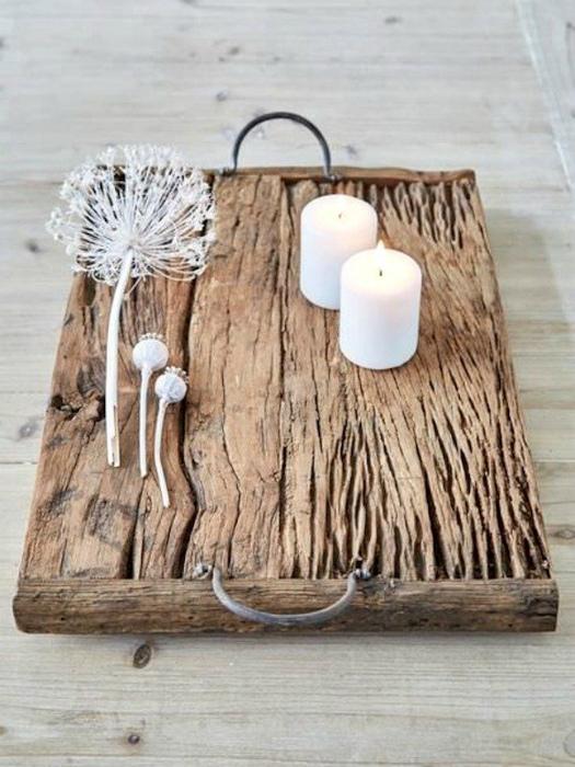 Стильный деревянный поднос.