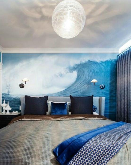 Мужская спальня с элементами морского стиля.