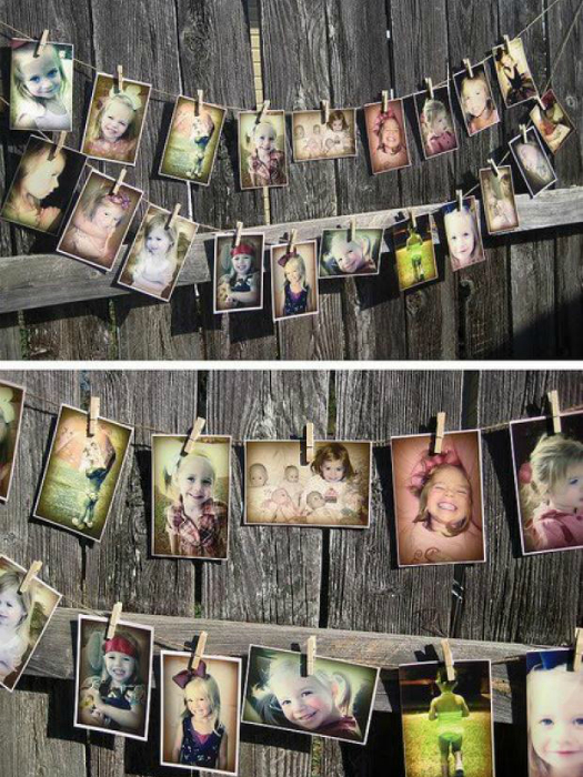 Можно развесить любимые снимки на бельевых веревках с помощью прищепок.