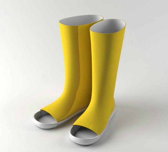 Резиновые сапоги с открытыми носками.