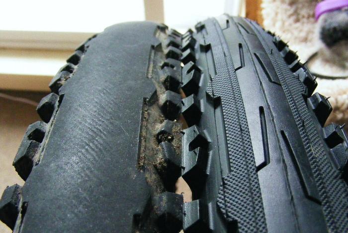Старая и новая велосипедная шина.