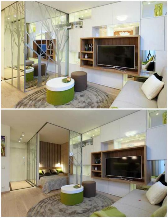 Спальный блок за зеркальными стенами. | Фото: heupica.pw.
