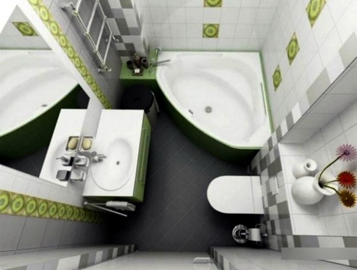 Санузел с угловой ванной. | Фото: GreatHomee.