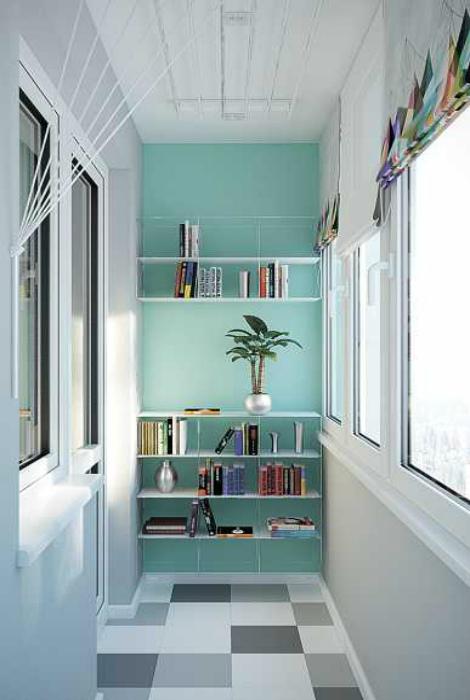 Стеллаж для книг на балконе. | Фото: myhome.ru.