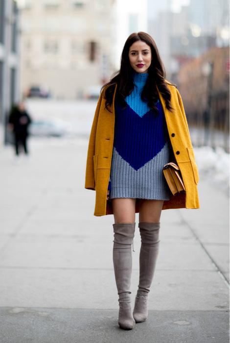 Яркий образ с желтым пальто.