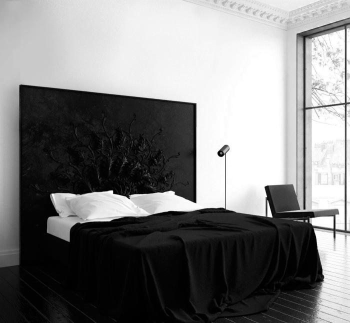 Контрастная черно-белая спальня.