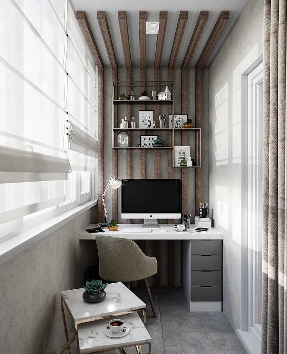 Небольшой офис с элементами рустикального стиля. | Фото: Клео.ру.