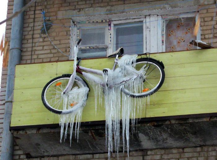 Замороженный велосипед.