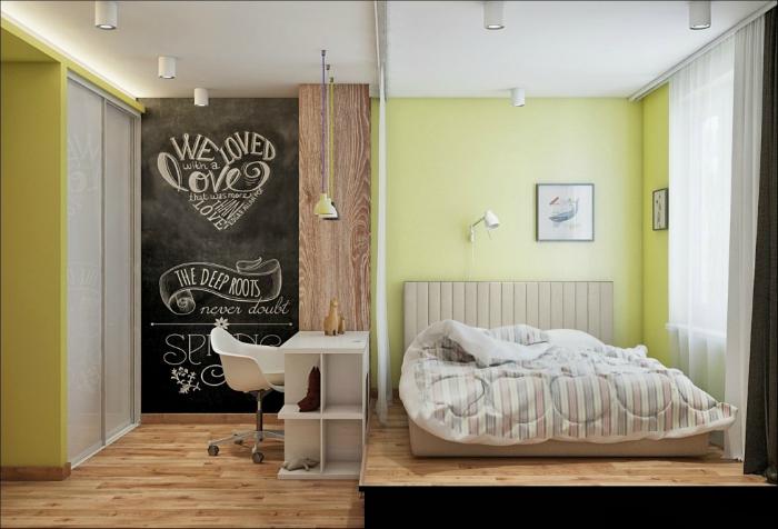 Современная спальня с подиумом.