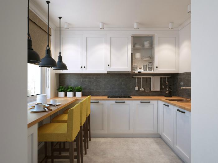 Кухня с элементами стиля лофт.