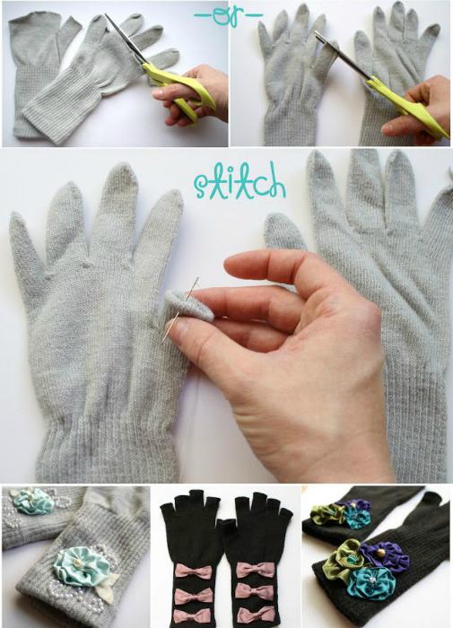 Простые перчатки можно украсить тканевыми бантиками, кружевом или цветами.