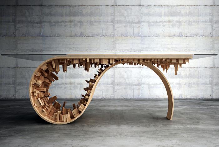 Стол с оригинальным деревянным каркасом.