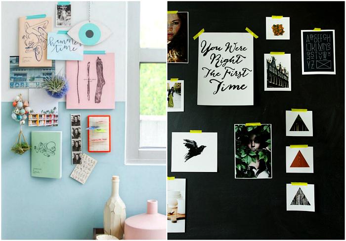 Записки и фото, приклеенные на цветной скотч.