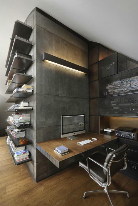 Мужской кабинет в индустриальном стиле.