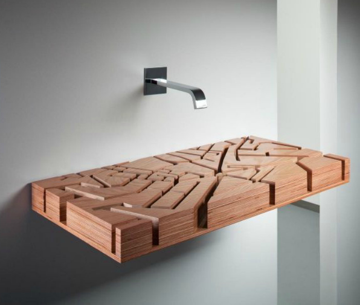 Раковина из дерева. | Фото: Pinterest.