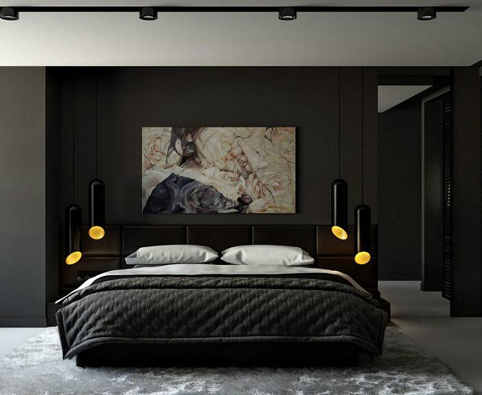 Элегантная спальня с темными стенами.