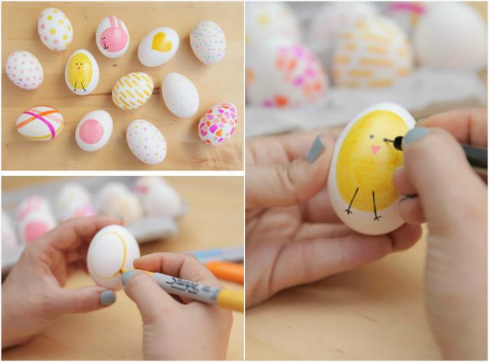 Яйца, разукрашенные фломастерами.