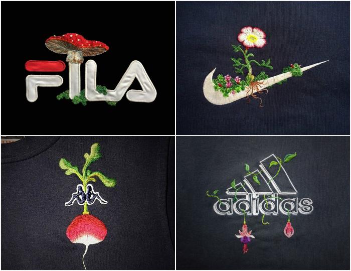 Известные логотипы, украшенные вышивкой.