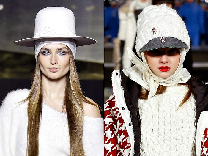 Модные многослойные головные уборы.