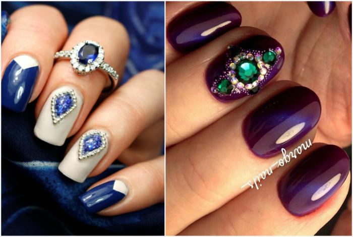 Дизайн ногтей с жидкими камнями.