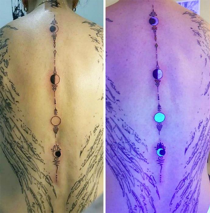 Татуировка с изображением лунных фаз.